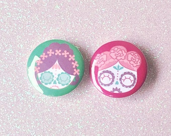 """1"""" Two Sugar Skull GIrls Buttons"""