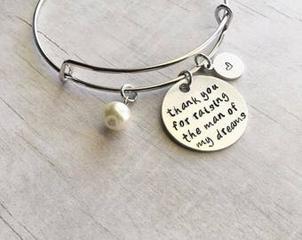 Mother of the Groom Gift from Bride - Mother in Law Gift - Mother of the Groom Gift - Hand Stamped Bangle Bracelet
