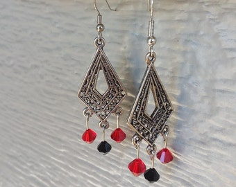 Handmade chandelier earrings, surgical steel.