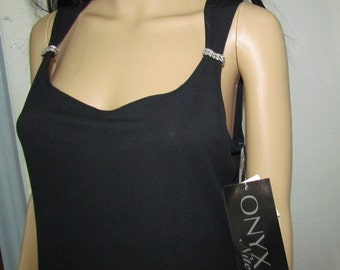 Vintage ONYX Nite Black Sleeveless Evening Dress New with tags Dead stock Size 12