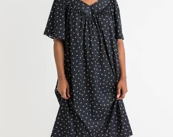 70s Black Tent Print Dress XL
