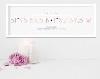coordinates print, wedding gift, personalised gift, gift for couple, custom coordinates, latitude longitude, coordinates, gifts for wedding