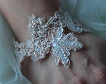 Lace bracelet, wedding bracelet ivory French lace, lace embroidered bracelet, Bridal lace bracelet has tie, beads