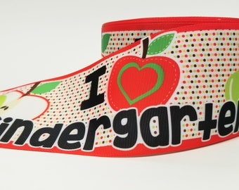 "3"" inch I Love Kindergarten Apple  - Back to School Printed Grosgrain Ribbon for Hair Cheer Bow"