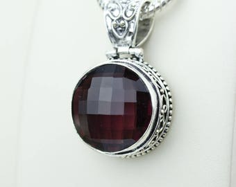 Round Shapped Vintage Setting Garnet 925 S0LID Sterling Silver Pendant + 4MM Snake Chain & Worldwide Shipping p4217
