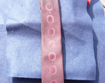 1960's Red and Black Patterned Square Ended Tie