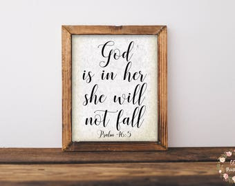 God Is In Her She Will Not Fall Print, Christian Wall Art, Scripture Wall Art, Inspirational Print, Printable Wall Art, Psalm 46:5, Antique