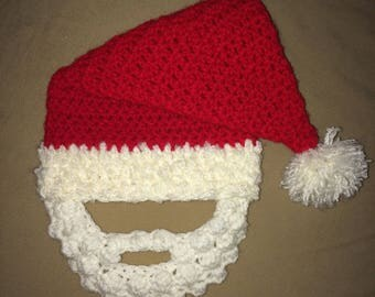 Handmade Crochet Bearded Santa Hat