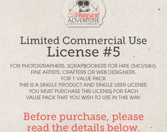 Limited Commercial Use License For Photographers, Scrapbookers For Hire (S4O/S4H), Artists, Crafters Or Web Designers For 1 Value Pack