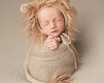 Newborn Lion Hat and Tail - Newborn Props - Lion Prop Set -Newborn Photography Prop - Animal Hat and Tail - Neutral - Newborn animal props