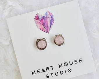 Cat earrings, stud earrings, niobium earrings, rose quartz earrings, pink earrings, Valentines gift, cat lover gift, cat jewelry, studs