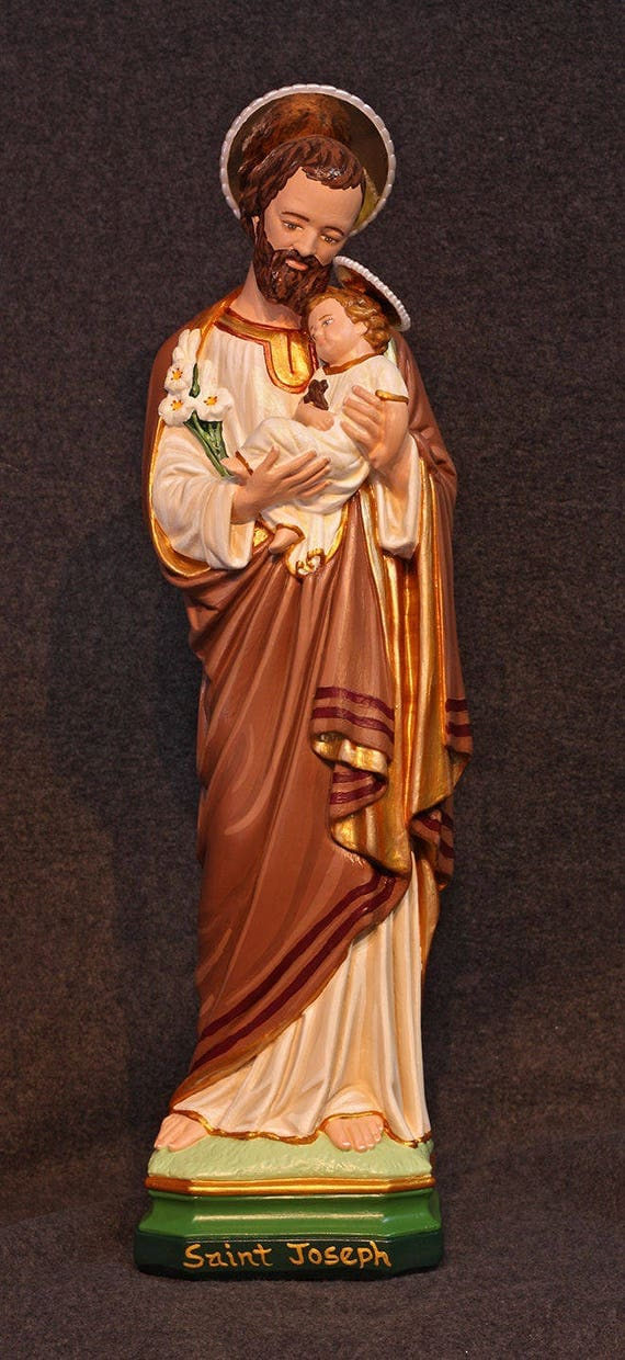"St. Joseph and Baby Jesus 18"" Patron of Workers"