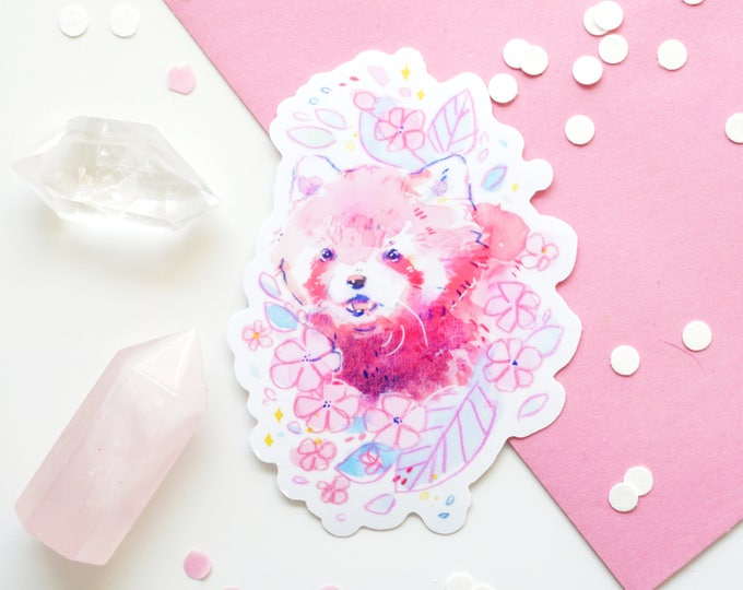 Pink Red Panda Vinyl Sticker