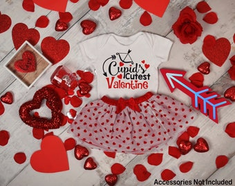 Cupid's Cutest Valentine Baby Bodysuit Top Shirt Toddler Tee T-Shirt Long Short Sleeve Birthday Day Shower Gift Girl Funny Idea Little Cute