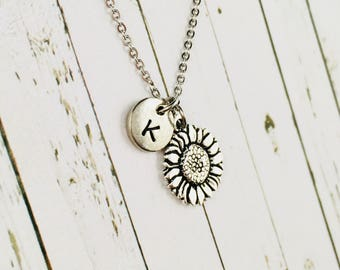Personalised Sunflower Necklace, Hand Stamped Initial Charm, Sunflower Pendant, Sunflower Jewelry, Sunflower Gift, Silver Sunflower Charm