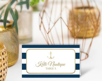 Nautical Wedding Place Cards / Nautical Stripes / Navy Stripes, Gold Anchor / PRINTED Name Card, Tent Card, Food Label