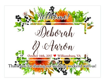 "4"" x 3""  Personalized Welcome Box Labels -  30 Wedding Welcome Bag Labels - Favor Labels - Welcome Stickers - Box Stickers - Fall Floral"