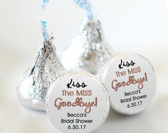 108 Wedding Kiss® Stickers - Hershey Kiss Stickers Bridal Shower - Personalized Hershey Kiss Labels - Kiss the Miss Goodbye - Bridal Shower