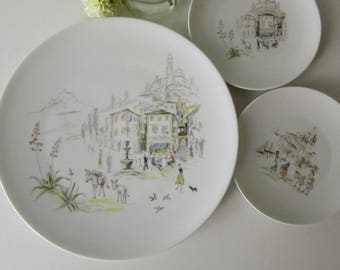 Three Vintage Plates with a Illustration of Italian Village made by Hutschenreuther Selb LHS 17138