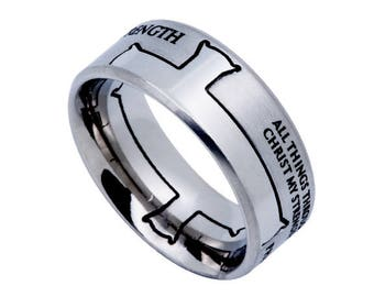 "Iron Cross Ring ""His Strength"""