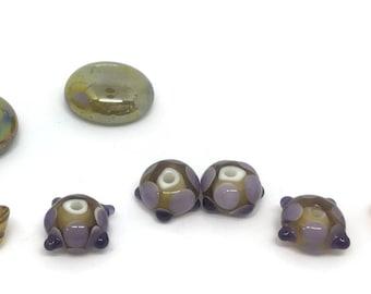 Light Topaz and Lavender Lampwork Glass Beads