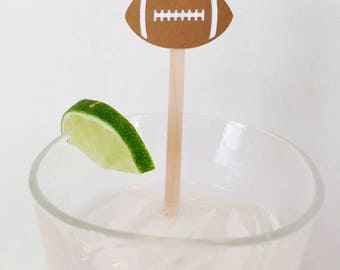 15 Football Swizzle Sticks - Superbowl Party - Football Banquet - Birthday Party - Sports - Gameday - Tailgate - Drink Stirrer
