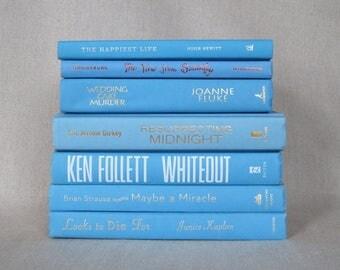 Book Bundle in Light Bright Blue, Decorative Book Set, Wedding Books
