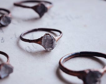 Herkimer diamond ring · alternative engagement ring ·crystal stacking ring · raw crystal ring · copper electroformed ring · raw mineral ring