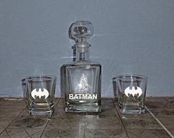 Batman Set Whiskey Decanter Groomsmen Gift Wedding Whiskey Glasses Decanter Valentines gift Mens gift Father day Boyfriend Best Man Gift