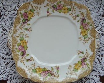 Lovelace - Square Cake Plate - Royal Albert Crown China England - Brown Edging, Pink and Yellow Flowers with Gold Trim