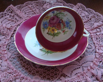 Rosina Bone China - Vintage Tea Cup and Saucer - Red Band with Multifloral Center and Gold Trim