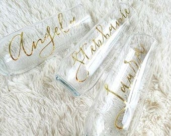 Personalized Champagne Glasses - Bridesmaid Gift Ideas - Bridesmaid Proposal - Bridesmaid Champagne Flutes - Calligraphy Style Flute