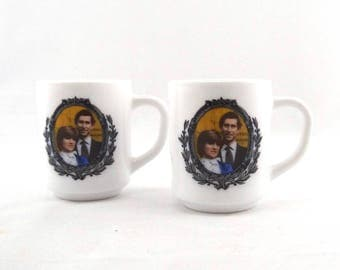 2 Vintage Charles and Diana Marriage Mugs - Charles and Diana Wedding Collectibles