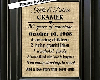 FRAMED Personalized 50th Anniversary Gift 50th Anniversary Gift for Parents Golden Anniversary Gift for Grandparents Anniversary for couple