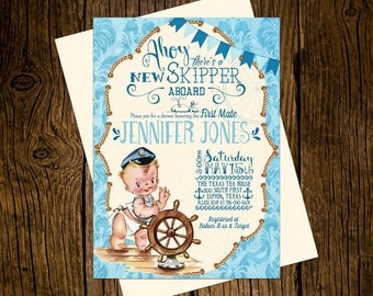 Nautical Baby Shower Invitations Personalized Custom Printed Set of 12 Party Invites Vintage Ecru Blue New Skipper Ahoy First Mate Ship