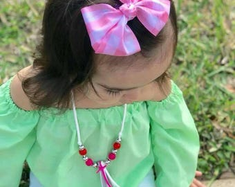 Pink & White Gingham Classic Bow ~ Baby Headbands ~ Toddler Clips ~ Boutique ~ Accessories ~ Alligator Clip ~ Photo Prop ~ Spring ~