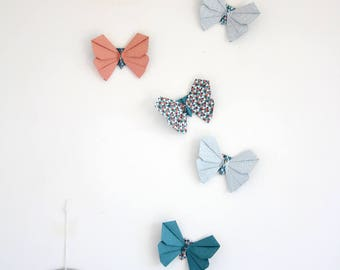 Set of 6 decorative geometric patterned origami butterflies / / wall decor butterflies in shades of blue, pink and grey / / small series