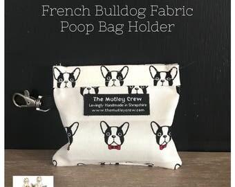 French Bulldog Fabric Poop Bag Holder