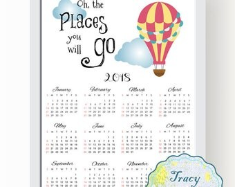 SALE! Printable Wall Calendar, Instant Download 2018 Wall Calendar, Red Hot Balloon Wall Calendar 2018, Oh the places you will go, 0509