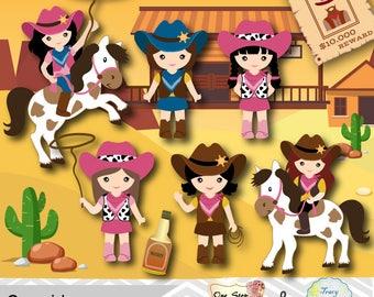 Digital Cowgirls Clip Art, Wild West Digital Clipart, Digital Cowboy Clipart, Instant Download Wild West Cowgirl Digital Clip Art 0183