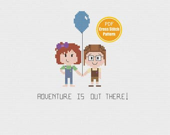 Up  Cross stitch - Disney Cross stitch - PDF Instant Download - Cross stitch pattern - Carl and Ellie Cross stitch - Adventure Is Out There