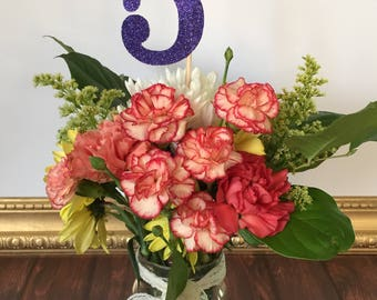 5 Centerpiece Picks, Glitter Fives on a Stick, Fifth Birthday Centerpiece Sticks, Age Wands, Glitter Age Centerpiece Sticks (3 Count)