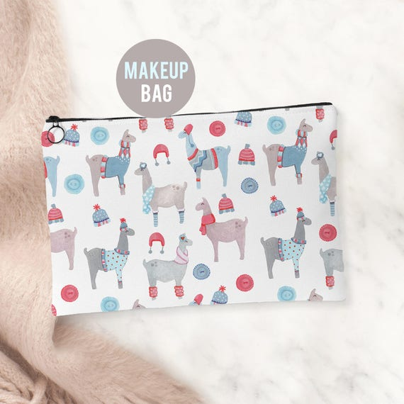 Makeup Bag - Llamas in Sweaters Cosmetics Bag - Accessories Bag Available in 2 sizes