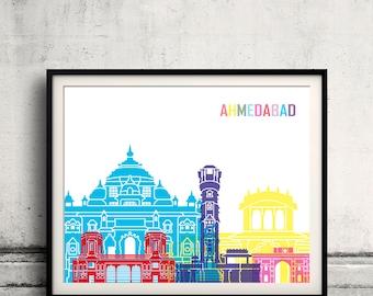 Ahmedab skyline pop - Fine Art Print Glicee Poster Gift Illustration Pop Art Colorful Landmarks - SKU 2351