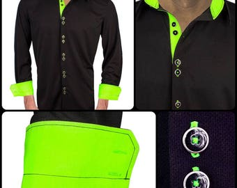 Black and Neon Green Moisture Wicking Dress Shirt - Made in USA