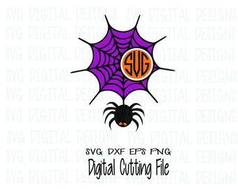 Spiderweb Monogram Frame Halloween Spider SVG Cut File, Halloween Monogram Svg Dxf Eps Png files Silhouette Cricut Scal Cutting Files