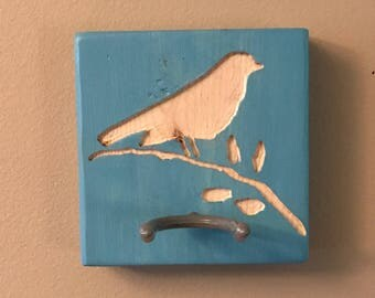 Wooden Ukulele Hanger with Carved Bird on a Branch