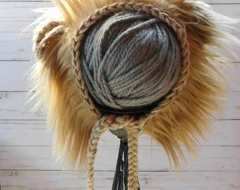 Sitter Lion Bonnet.Sitter romper. Caramel romper sitter, whole lion outfit. Lion and tail set. sitter lion props.