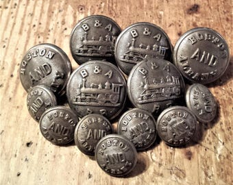 Vintage Set of 13 Railroad Buttons