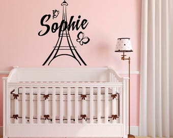 Superior Personalized Paris Wall Decals Vinyl Stickers By FabWallDecals Girl Name Wall  Decal Paris Theme Bedroom